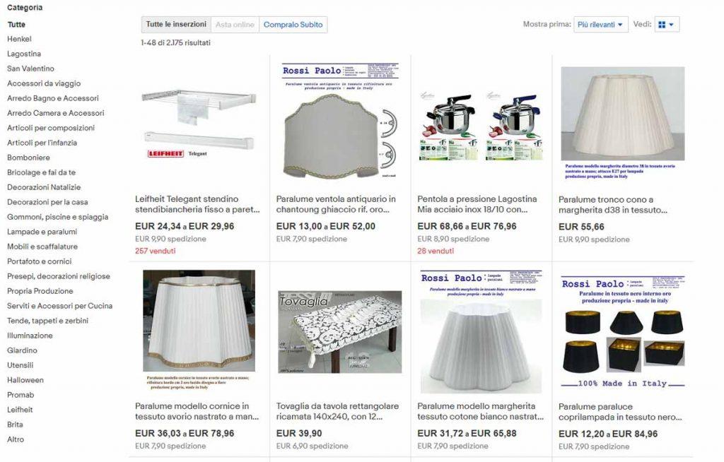 Negozio Ebay di Rossi Paolo Paralumi - paolorossi.com