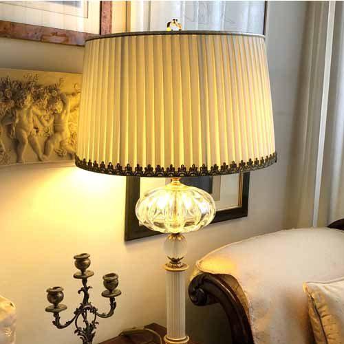 Paralume plissettato con decorazioni effetto vintage - paolorossi.com