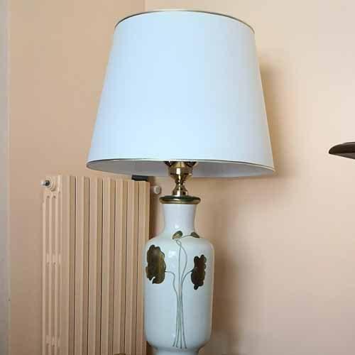 Paralume tronco cono avorio con decorazioni oro - paolorossi.com
